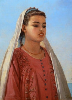 Almeh on the Nile - Orientalist Oil Painting of Egypt Beauty Royal Academy 1910