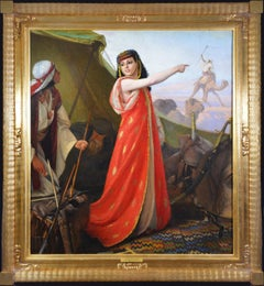 The Beautiful Sentinel - 19th Century Orientalist Oil Painting of Egyptian Girl