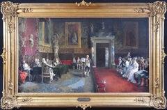 Le Concours de Violon - Large 19th Century Oil Painting Classical Music Concert