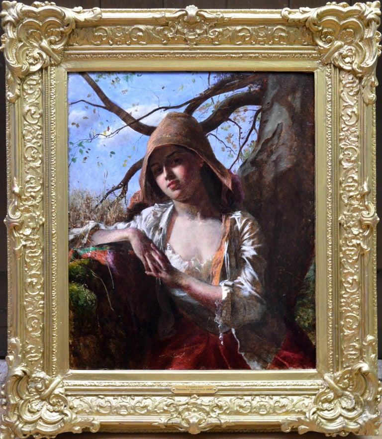 Frederick Smallfield Figurative Painting - A Country Lass - 19th Century Pre-Raphaelite Portrait Oil Painting of Young Girl