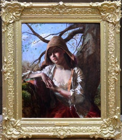 A Country Lass - 19th Century Pre-Raphaelite Portrait Oil Painting of Young Girl
