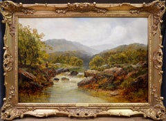 Fishing in the Highlands - 19th Century Oil Painting Angling on Scottish River