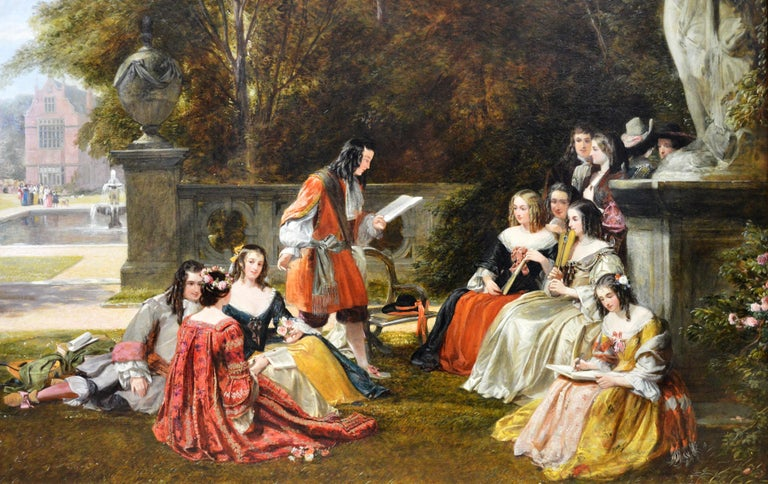 This is a very large fine 19th century oil on canvas depicting the royal court of King Charles II in the gardens of an English stately home in Kent by the distinguished Royal Academy painter James Digman Wingfield (1800-1872). 'Summer Hill, time of