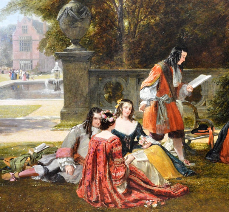 Summer Hill, time of Charles II - 19th Century Royal Academy Oil Painting 1855 For Sale 5