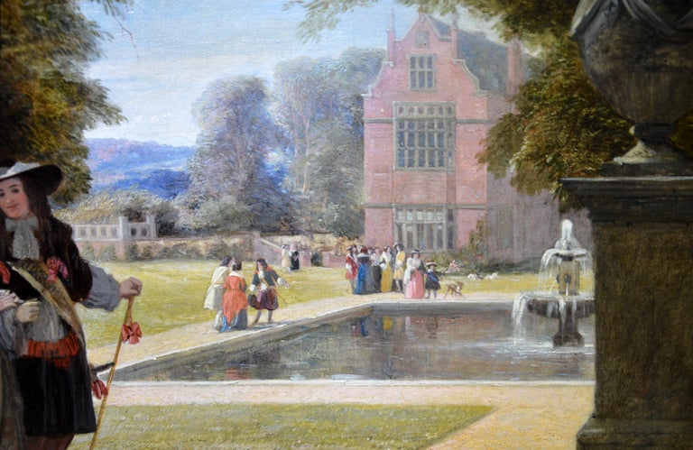 Summer Hill, time of Charles II - 19th Century Royal Academy Oil Painting 1855 For Sale 4