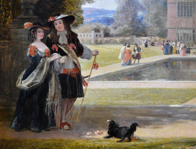 Summer Hill, time of Charles II - 19th Century Royal Academy Oil Painting 1855 For Sale 2