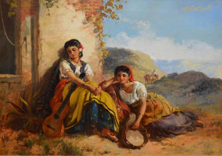 Chicas Gitanas - 19th Century Orientalist Oil Painting Beautiful Spanish Girls - Brown Figurative Painting by Thomas Kent Pelham