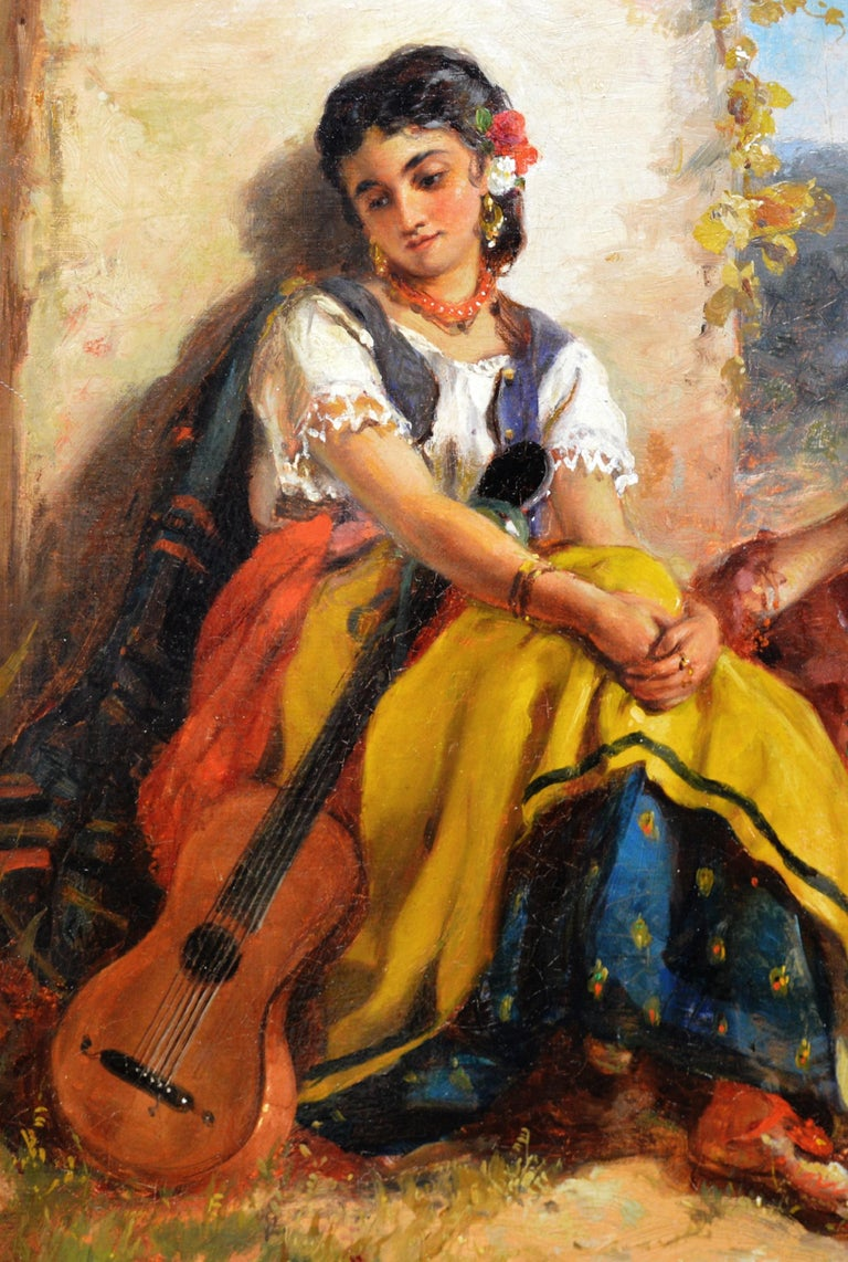 Chicas Gitanas - 19th Century Orientalist Oil Painting Beautiful Spanish Girls For Sale 2