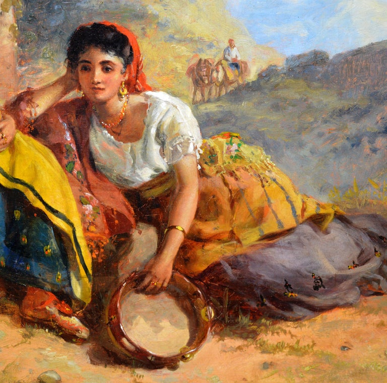Chicas Gitanas - 19th Century Orientalist Oil Painting Beautiful Spanish Girls For Sale 3