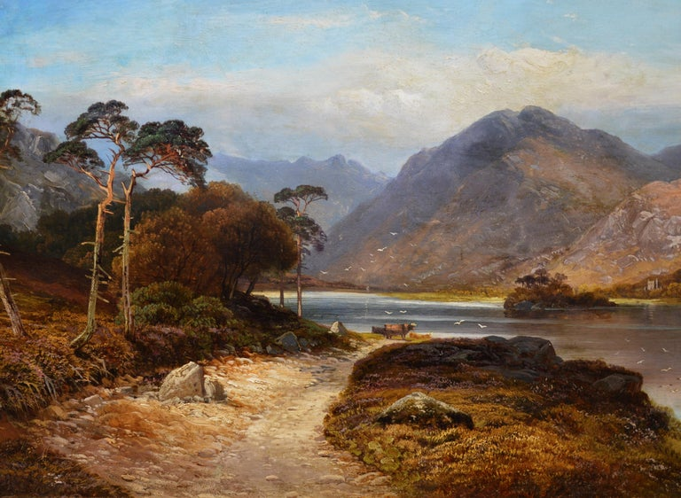 Loch Lomond - 19th Century Landscape Oil Painting of the Scottish Highlands For Sale 1