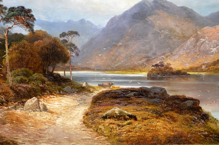 Loch Lomond - 19th Century Landscape Oil Painting of the Scottish Highlands For Sale 4