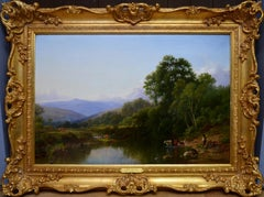 On the Teign, Devon - 19th Century English River Landscape Oil Painting
