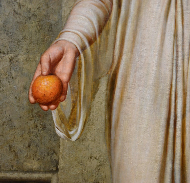 Oranges - 19th Century Neoclassical Portrait Oil Painting of Young Roman Girl For Sale 5