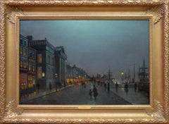 Moonlight Liverpool Docks - 19thC Victorian Oil Painting Atkinson Grimshaw
