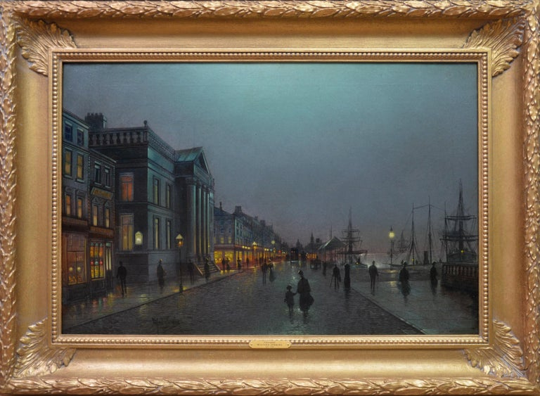 Wilfred Jenkins Figurative Painting - Moonlight Liverpool Docks - 19thC Victorian Oil Painting Atkinson Grimshaw