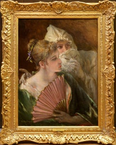 Masquerade - 19th Century French Belle Epoque Oil Painting Portrait Society Girl