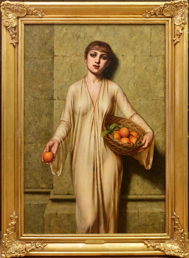 This is a large fine oil 19th century oil on canvas depicting a young woman of Ancient Rome in a sheer subucula tunic selling 'Oranges' by the Victorian neoclassical painter Arthur Hill RBA (1820-1920). The painting is signed and dated by the