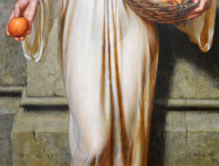 Oranges - 19th Century Neoclassical Portrait Oil Painting of Young Roman Girl For Sale 7