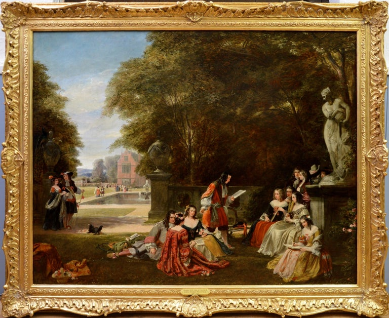 Summer Hill, time of Charles II - Huge 19th Century Royal Academy Oil Painting - Brown Figurative Painting by James Digman Wingfield