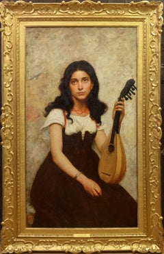 La Jeune Musicienne - 19th Century French Belle Epoque Oil Painting Portrait