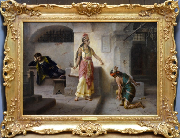 Luigi Crosio Interior Painting - Intervention of Pocahontas - 19th Century Italian Oil Painting American History