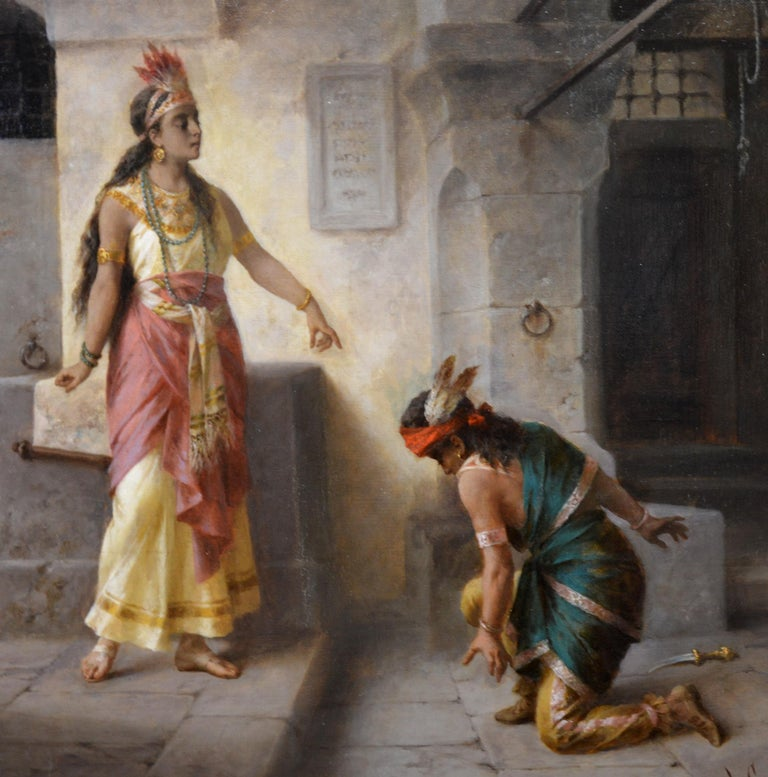 Intervention of Pocahontas - 19th Century Italian Oil Painting American History For Sale 1