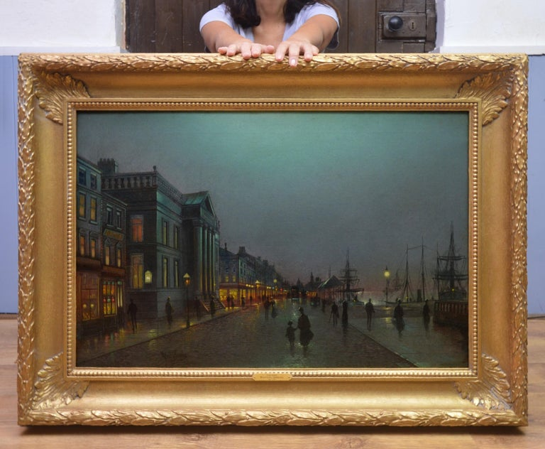 Moonlight Liverpool Docks - 19th Century Victorian Oil Painting  - Gray Landscape Painting by Wilfred Jenkins