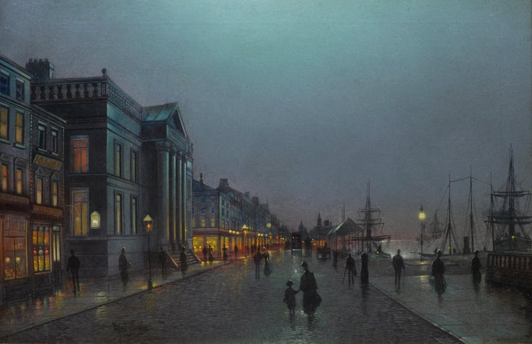This is a large fine 19th century Victorian landscape oil on canvas depicting an atmospheric nocturnal scene of dark figures walking at 'Liverpool' docks - lit by the glow of gas lights - by the very popular British artist and former pupil of John