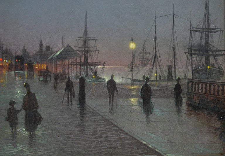 Moonlight Liverpool Docks - 19th Century Victorian Oil Painting  For Sale 3