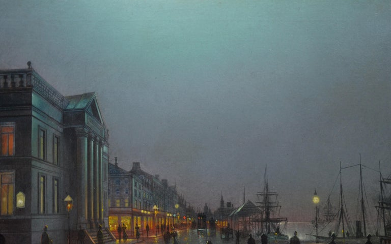 Moonlight Liverpool Docks - 19th Century Victorian Oil Painting  For Sale 4