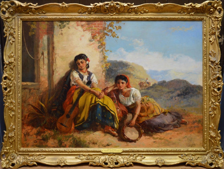 Thomas Kent Pelham Figurative Painting - Chicas Gitanas - 19th Century Orientalist Oil Painting Beautiful Spanish Girls