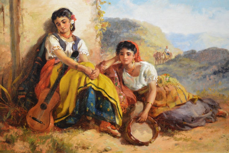 Chicas Gitanas - 19th Century Orientalist Oil Painting Beautiful Spanish Girls For Sale 1