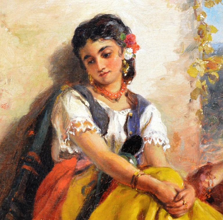 Chicas Gitanas - 19th Century Orientalist Oil Painting Beautiful Spanish Girls For Sale 4