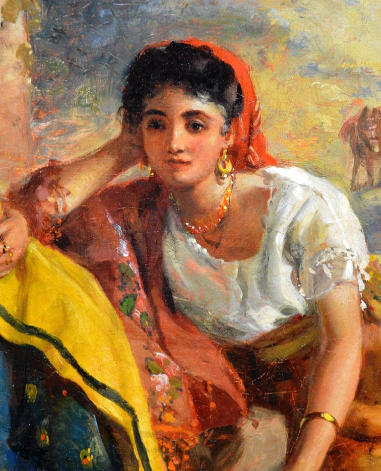 Chicas Gitanas - 19th Century Orientalist Oil Painting Beautiful Spanish Girls For Sale 5