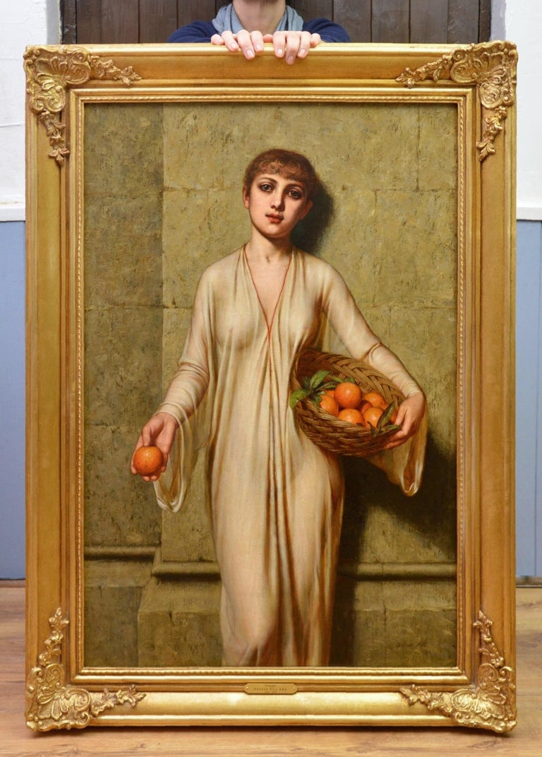 Oranges - 19th Century Neoclassical Portrait Oil Painting of Young Roman Girl - Brown Figurative Painting by Arthur Hill