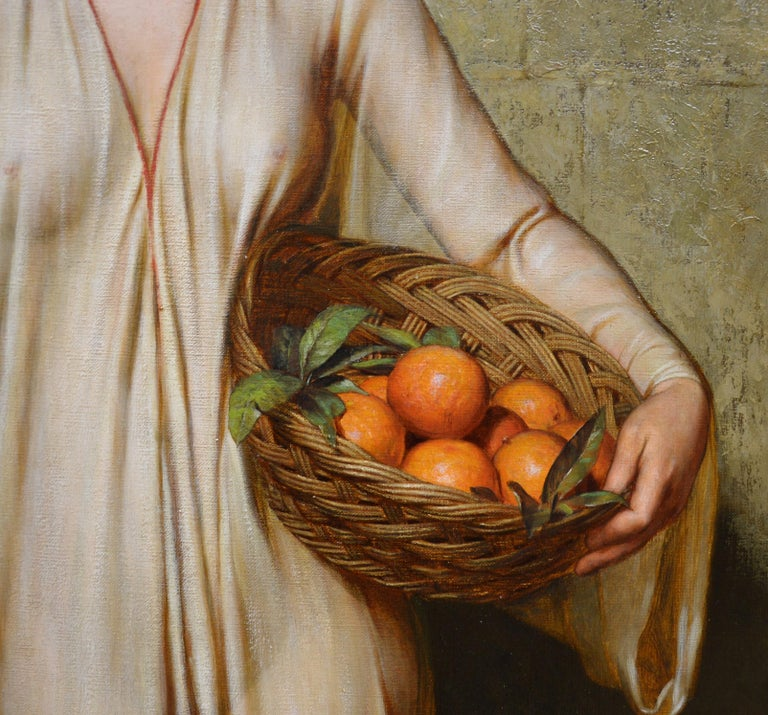 Oranges - 19th Century Neoclassical Portrait Oil Painting of Young Roman Girl For Sale 1