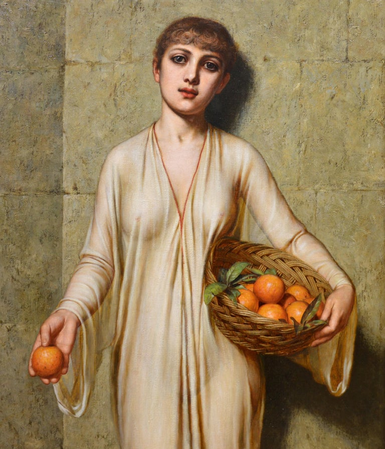 Oranges - 19th Century Neoclassical Portrait Oil Painting of Young Roman Girl For Sale 2
