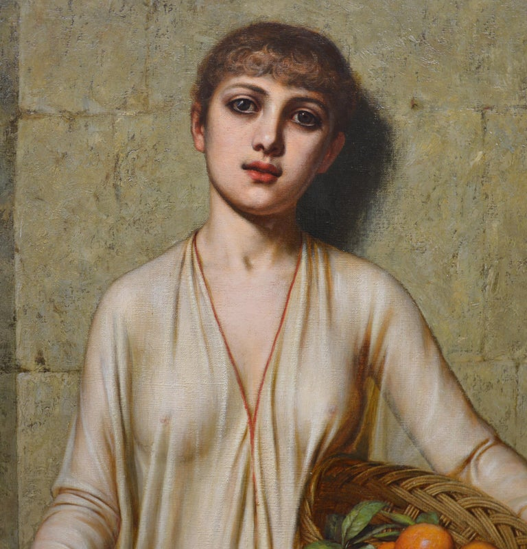 Oranges - 19th Century Neoclassical Portrait Oil Painting of Young Roman Girl For Sale 4