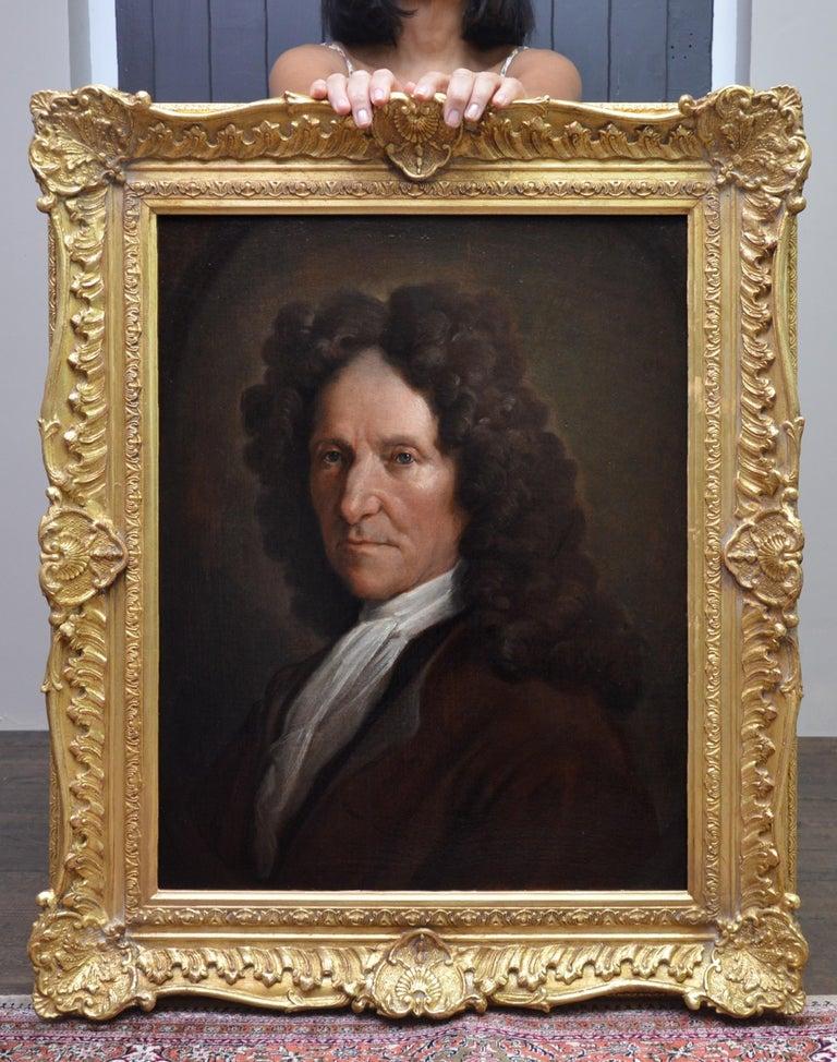 Jean de La Fontaine - 17th Century French Portrait Oil Painting of Famous Poet - Brown Portrait Painting by François de Troy (attributed to)
