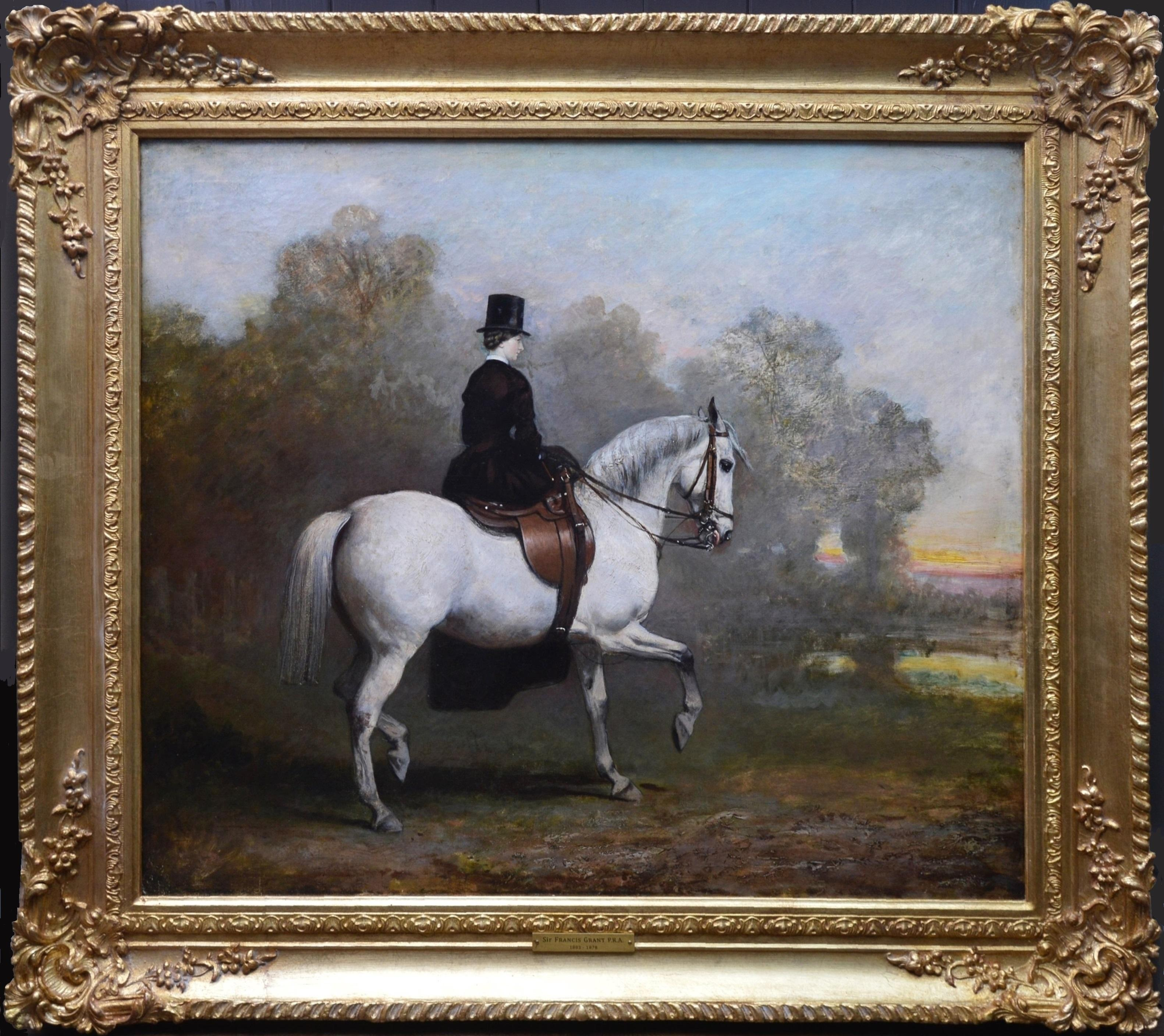 Portrait of an Elegant Lady on a White Hunter - Mid 19th Century Oil Painting