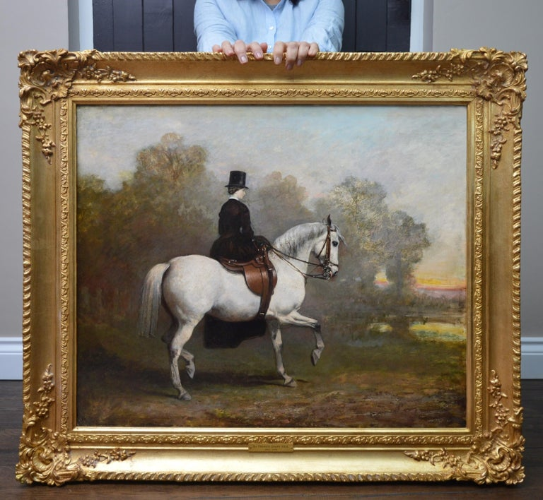 Portrait of an Elegant Lady on a White Hunter - Mid 19th Century Oil Painting  - Black Figurative Painting by Sir Francis Grant PRA