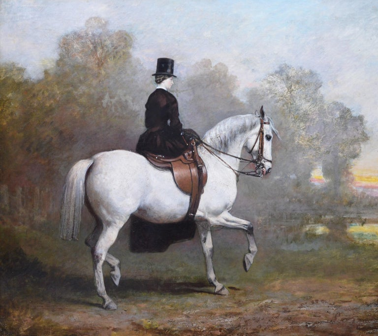 Portrait of an elegant lady riding a white hunter by Sir Francis Grant P.R.A. (1803-1878).    As with all of the original antique oil paintings we sell it is offered in excellent condition, having just been professionally cleaned, restored and