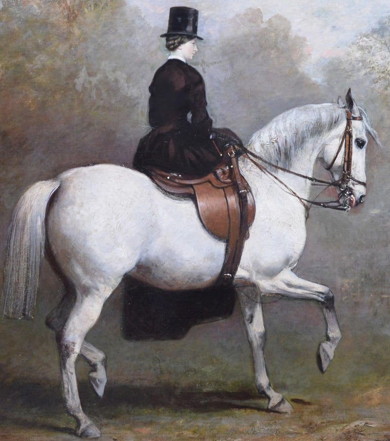 Portrait of an Elegant Lady on a White Hunter - Mid 19th Century Oil Painting  For Sale 1
