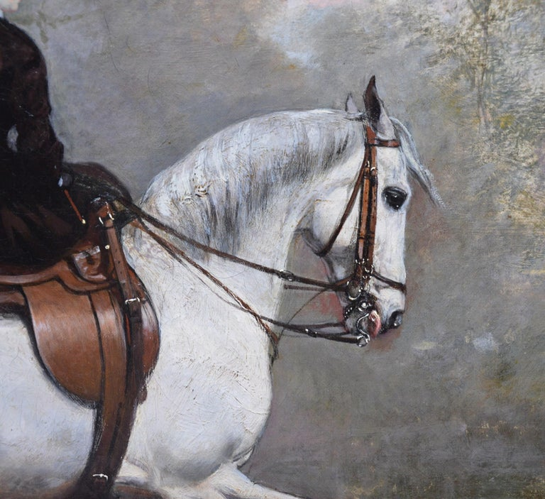 Portrait of an Elegant Lady on a White Hunter - Mid 19th Century Oil Painting  For Sale 2
