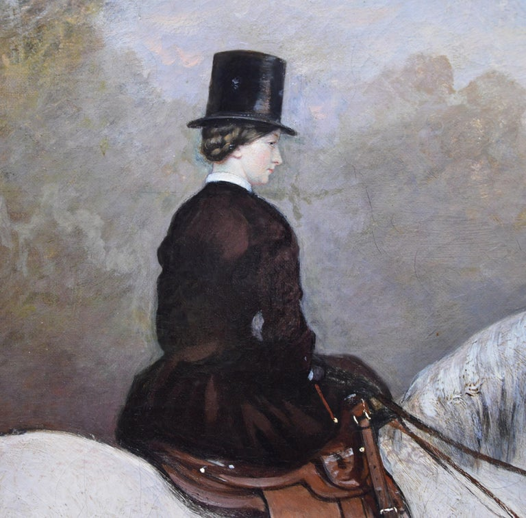 Portrait of an Elegant Lady on a White Hunter - Mid 19th Century Oil Painting  For Sale 3
