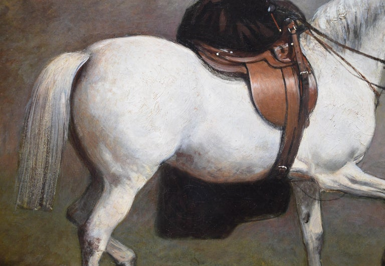 Portrait of an Elegant Lady on a White Hunter - Mid 19th Century Oil Painting  For Sale 4