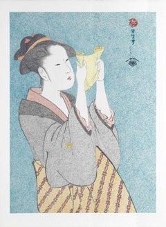 Japanese Art Figurative Painting Mario B Gil Woman reading a letter Edo period