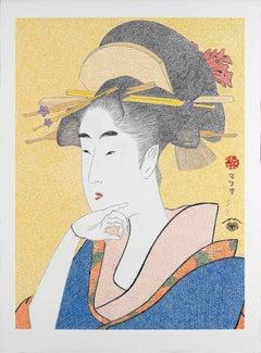 Japanese Art Figurative Painting Mario B. Gil Bijin Ôkubi Edo Period