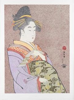 Japanese Art Figurative painting Mario BGil Courtesan Hanaôgi  Edo period