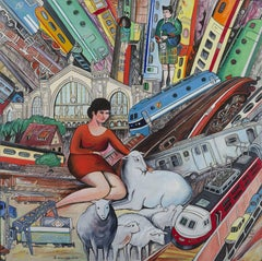 Train Station (Lost Sheep), Paris,France, Contemporary Acrylic on Wood Painting